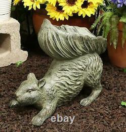 Ebros Aluminum Squirrel Statue with Dish Bowl Tail Garden Bird Feeder Bath 15L