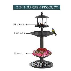 Economy Durable Plastic Multi Tier Outdoor Home Garden Flower Planter Birdbath