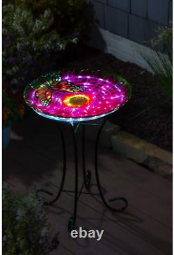 Evergreen Garden Beautiful Summer Butterfly Embossed Glass Solar Bird Bath With