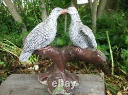 Exquisite Kissingdoves Vintage Cement/concrete Gardenstatue Birdbath Centerpiece