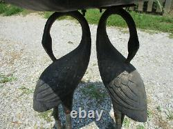Exquisite Older Crane, Egret, Heron Garden Birdbath Cast Iron Base Weight 28 Lb
