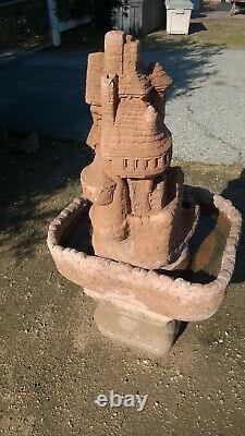 FAIRY Garden Water WHEEL Fountain CONCRETE Bird Bath Farmhouse Country Patio VTG