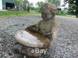 Fabulous Weathered Worn Putto/birds Vintage Cement/concrete Tabletop Bird Bath