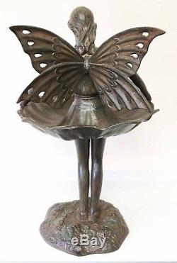 Fairy Ballerina Bird Feeder Bath Magical Garden Decor Aluminum Statue Patio 22H