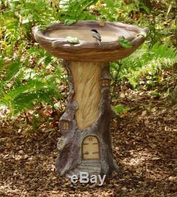 Fairy Garden Birdbath Hand-Painted Resin Outdoor Yard Decor Full Size 2' Tall