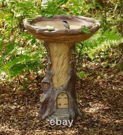 Fairy Garden Birdbath Pedestal Feeder Backyard Indoor Outdoor Accent Decor 23H