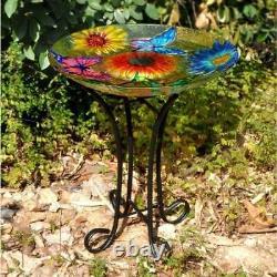 Floral Durable Glass Butterfly Garden Yard Bird Bath With Stand Solar LED Light