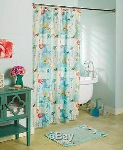 Floral Serenade Shower Curtain Spring Butterflies Botanical Bird Garden Bath Set