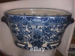 Flow Blue Ceramic Chinese Foot Bath or Planter Koi Fish Garden & Birds XL Size