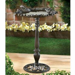 Forest Frolic Cast Iron Bird Bath for Yard Garden Patio Deck
