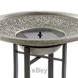Fountain Birdbath Solar Powered Bubbler Sprayer Cement Stone Grey Garden Decor