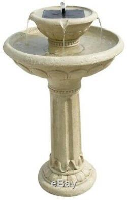 Fountain Two-Tier Garden Solar-on-Demand Antique White Stone Birdbath Basin