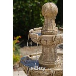 Fountain Water Waterfall Bird Bath Outdoor Fountains Garden Kit Pool Patio Three