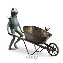 Frog and Bird Wheelbarrow Metal Garden Planter