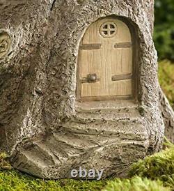 Full-Size Fairy Garden Birdbath with Miniature Fairy House in A Tree Stump