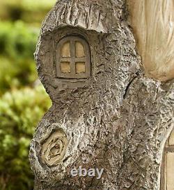 Full Size Fairy Garden Birdbath with Miniature Fairy House in A Tree Stump