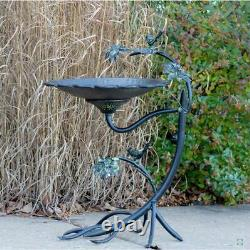 Galvanized Scallop Edge Bird Bath with Branch Stand Yard, Deck, Patio, Garden