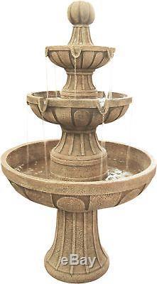 Garden 3 Tier Stone-like Cascading Water Fountain Birdbath Classic Electric Pump