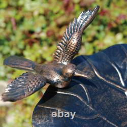 Garden 34 Tall Pedestal Birdbath Feeder 3 Crane Statue Metal Sculpture Bronze