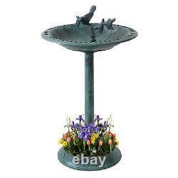 Garden Bird Bath Bowl with Sparrow statue Traditional Pedestal Ornamental Feeder