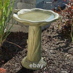 Garden Bird Bath Cast Stone Large Water Bowl withFrogs Pedestal Outdoor Yard Lawn