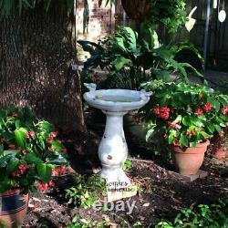 Garden Bird Bath Ceramic Stand Rustic Ivory Sculpture Water Bowl Lawn Yard Decor