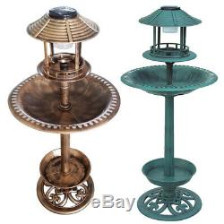 Garden Bird Bath Feeding Station Planter Solar Powered Light Ornament