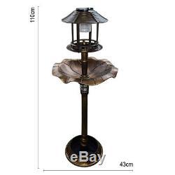 Garden Bird Bath Feeding Station Planter Solar Powered Light Ornament Copper Eff