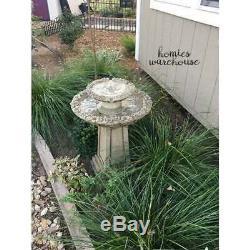 Garden Bird Bath Fountain Tiered Carved Electric Rustic Patio Balcony Lawn Decor