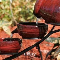 Garden Bird Bath Fountains Ceramic Hand Painted Solar Pump New Outdoor Fountain