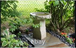Garden Bird Bath Outdoor Cast Stone Lawn Yard Patio Hand Made Modern USA Decor