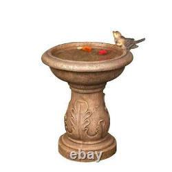 Garden Bird Bath Pedestal Bowl Faux Cast Stone Birds Decor Outdoor Patio Yard 18