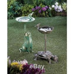 Garden Bird Baths, Green Aluminum Metal Ground Bird Bath For Outdoor