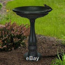 Garden Birdbath Cast Stone Bowl Base Powder Coated Pedestal Weather Resistant