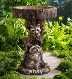 Garden Birdbath Raccoon Pedestal Resin Feeder Outdoor Lawn Yard Accent Decor 2ft