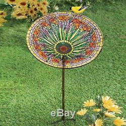 Garden Birdbath Stake Outdoor Colorful Decoration Bird Feeder Yard Ornament Gift