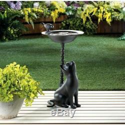 Garden Brown Cat Birdbath Cast Iron Thirsty Bird Clean Water Stop 21.5 Height