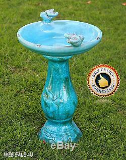 Garden Ceramic Bird Bath Antique Blue Pedestal Birdbath Décor Turquoise Glazed