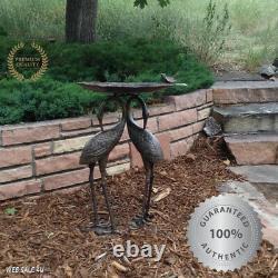 Garden Heron Bird Bath Cast Aluminum Outdoor Décor Lily Bowl Birdbath Aged Bronz