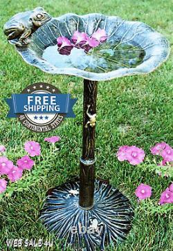 Garden Iron Bird Bath Outdoor Décor Durable Cast Aluminum Frog Pedestal Birdbath