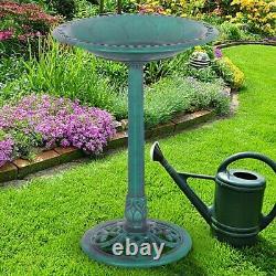 Garden Pedestal Bird Bath Feeder Green Fountain Water Bowl Pond Pool Yard Birds