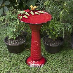 Garden Pedestal Bird Bath with Bird Figurines Red Metal Water Bowl Outdoor Lawn