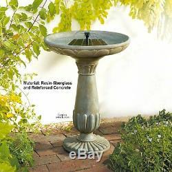 Garden Solar Bird Bath Fountain Carved Pedestal Aged Finish Outdoor Patio Decor