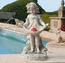 Garden Statue Little Girl with Bird Bath Feeder Outdoor Lawn Ornament Sculpture