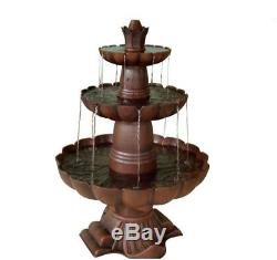 Garden Tier Fountain Bird Bath 3-Tiered Waterfall Cascade Pond Electric Kit Pump