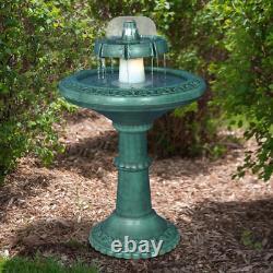 Garden Water Floor Fountain and Birdbath 37 in. Outdoor Patio 2-Tier Classic NEW