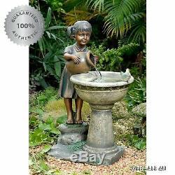Garden Water Fountain Bird Bath Vintage Outdoor Sweet Girl Figure Birdbath Pump