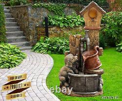 Garden Water Fountain Birdhouse Outdoor Bird Bath Farmhouse Country Patio Decor