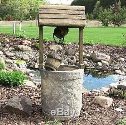 Garden Water Fountain Electric Wishing Well Patio Outdoor Birdbath Decor Water