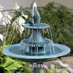 Garden Water Fountain Fish Pedestal Bird Bath Pump Patio Birdbath Yard Outdoor